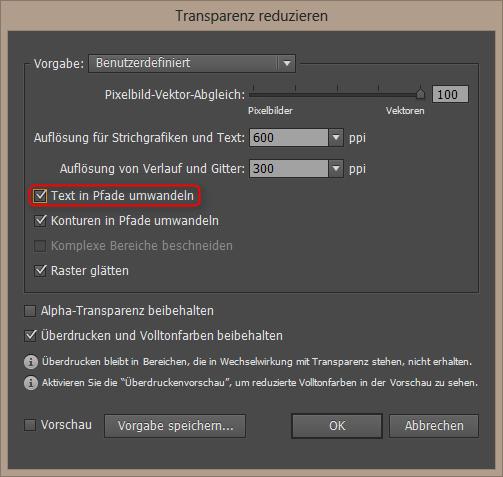 PDF Schrift in Pfade